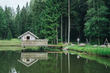 Log cabin on a lake.