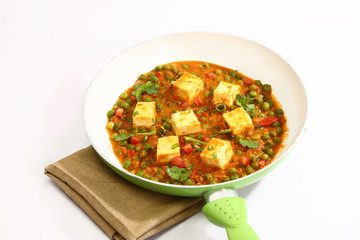 Paneer Masala with Matar or Cheese Cooked with Peas in a Creamy Sauce, Indian Dish