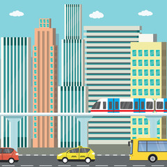 City view and different transport - cars,bus,subway