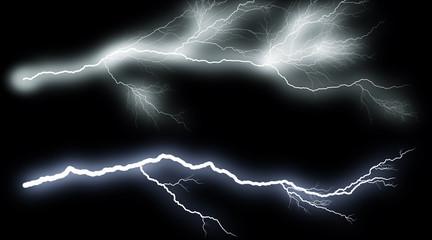Set of lightings. Illustration of realistic lighting thunderbolt on black background. Summer thunder storm