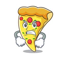Angry pizza slice mascot cartoon