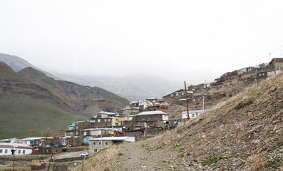 Mountain settlement, houses of local residents - Khinalig, Azerbaijan