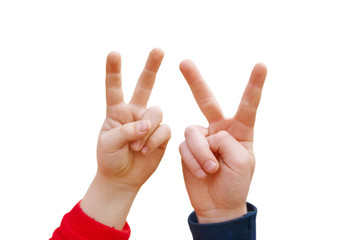 two children's hand displaying peace sign on white background