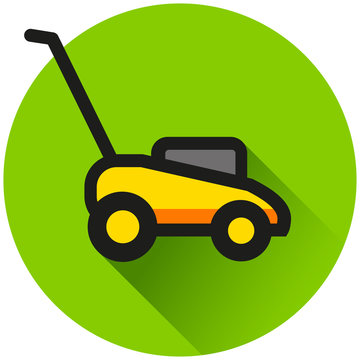 lawn mower circle green icon