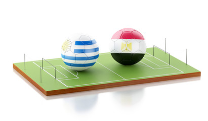 3d Soccer field with Uruguay and Egypt soccer ball.
