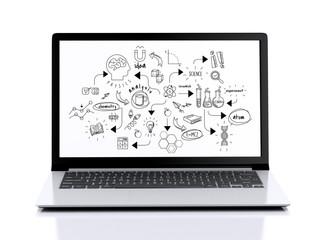 3d Modern Laptop with chemestry sketch
