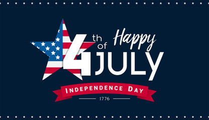 Happy 4th of July Banner Vector illustration, Independence Day, 4th of July with US flag inside star on dark blue background.