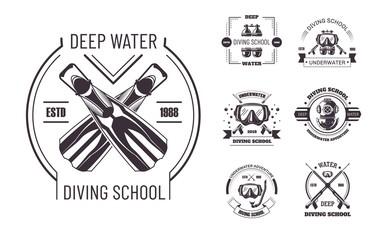 Diving school deep water promo monochrome emblems set