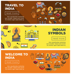 India travel landmarks and symbols vector banners