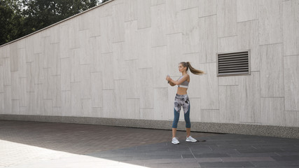 Woman working out at street