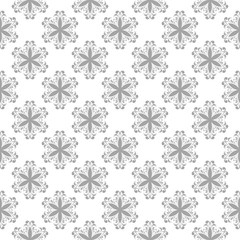 Gray floral seamless ornament on white background