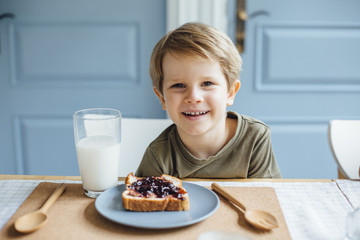 Young boy at breakfast
