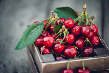 Cherries with leaves in vintage wooden box on rustic wooden table. Copy space