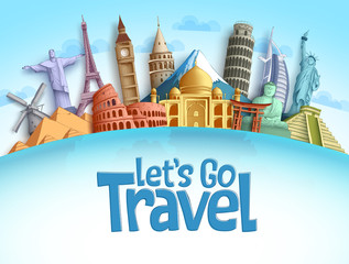 Travel destination vector background and template design with travel destinations and famous landmarks and attractions for tourism. Let's go travel vector illustration.