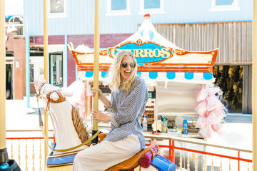 Young Woman on a Carousel