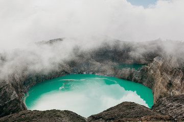 Different lakes in volcano