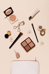 Flat lay makeup items