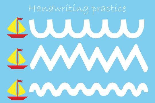 Draw track of ships, handwriting practice sheet, kids preschool activity, educational children game, printable worksheet, writing training, vector illustration