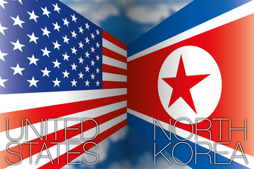 USA vs North Korea flags, vector illustration