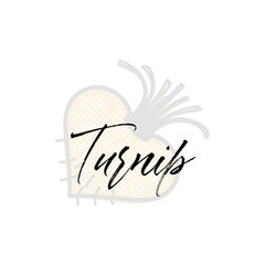 Turnip word on background illustration. Fruit web element, Isolated Vector