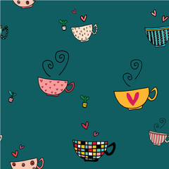 doodle hand drawing coffee cups in different designs on pattern seamless