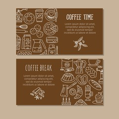 Coffee design templates. Vector banners.