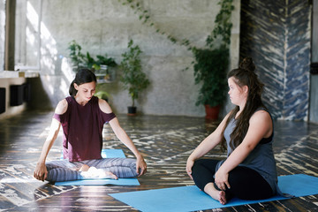 Girl with Down syndrome on meditation class