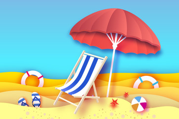 Red parasol - umbrella in paper cut style. Blue Chaise lounge. Origami sea and beach. Sport ball game. Flipflops shoes. Lifesaver. Starfish. Vacation and travel concept.