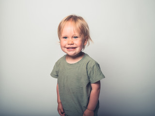 Cute little toddler boy posing on white background