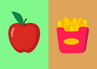 Apple and french fries