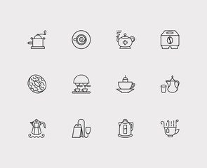 Tea icons set. Coffee machine and tea icons with mocha pot, tea cup and electric kettle. Set of fresh for web app logo UI design.