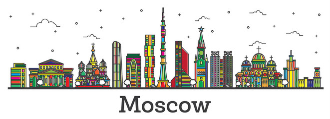 Outline Moscow Russia City Skyline with Color Buildings Isolated on White.