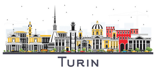 Wall Mural - Turin Italy City Skyline with Color Buildings Isolated on White.