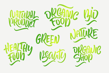 Lettering set for natural products. Handwritten logo fresh, Nature, organic food, natural cosmetics, farm food, Nature, Healthy food.