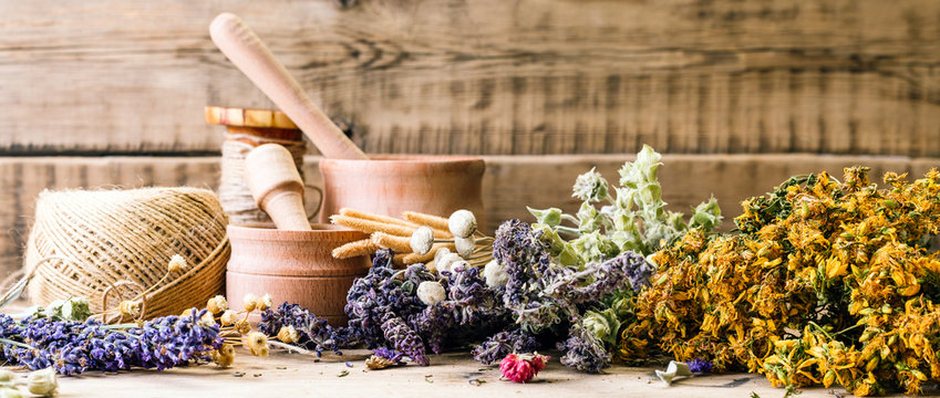 preparation of herbs, homeopathy, dried flowers, banner