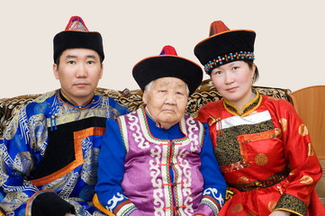 Buryat (Mongolian) grandmother and her grandchildren