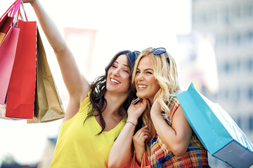 Women enjoying shopping