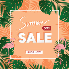 Summer sale poster template in light orange background