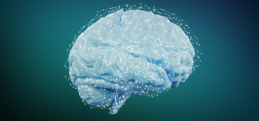 3d rendering artificial brain isolated on a background