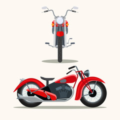 Retro red motorcycle vintage isolated. Front and side view. Vector flat style illustration