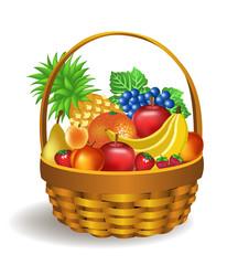 basket full of fruits like bananas, apples, grapes, pineapple, pear, peach