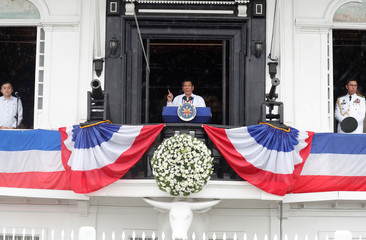 Philippine's President Rodrigo Duterte speaks during the 120th Philippine Independence day celebration at the Emilio Aguinaldo shrine in Kawit, Cavite