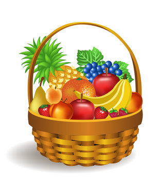 basket full of fruits like bananas, apples, grapes, pineapple, pear, peach