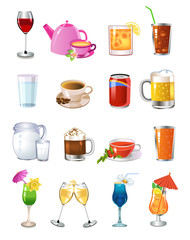 vector set of different drinks and beverages