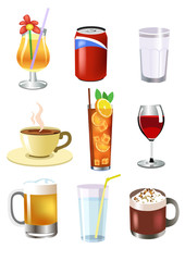 set of vector drinks, like beer, wine, ice tea, hot chocolate, coffee