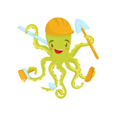 Happy green octopus with working tools in tentacles and protective helmet on head. Flat vector design for career day poster