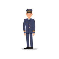 Flat vector illustration of smiling pilot. Young captain of aircraft. Element for promo poster of airline