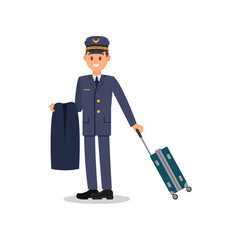 Young pilot holding jacket and suitcase. Captain in blue suit and cap. Worker of civil aviation. Isolated flat vector design