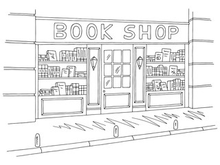 Book shop store exterior graphic black white sketch illustration vector