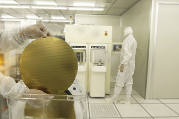 Wall Mural - Hands holding a silicon wafers with reflection light with blurred background workers in white suits working at clean room laboratory semiconductor production.